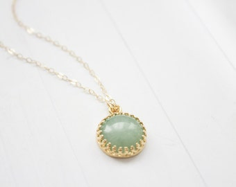 Dainty Aventurine Brass Pendant Necklace In Gold