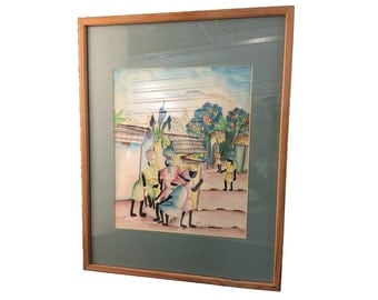 Framed Pen & Ink, Signed and Matted, Vintage