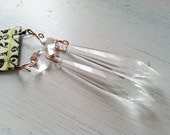 Chandelier Crystal Earrings Prisms Fish Hook Coppery Findings Glass Long Dangle Victorian Jewelry Edwardian Style