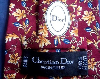 Hand Made Neckties CHRISTIAN DIOR MONSIEUR Paris 100%Silk Made in France