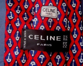 "Authentic Vintage  CELINE PARIS Neckties Pure Silk Geometric Made in Spain""Free Shipping"""