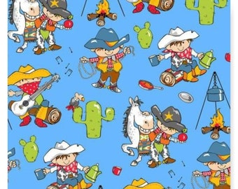 Little Cowboys Horse Campfire on Blue Flannel Fabric  By the Yard Fabriquilt