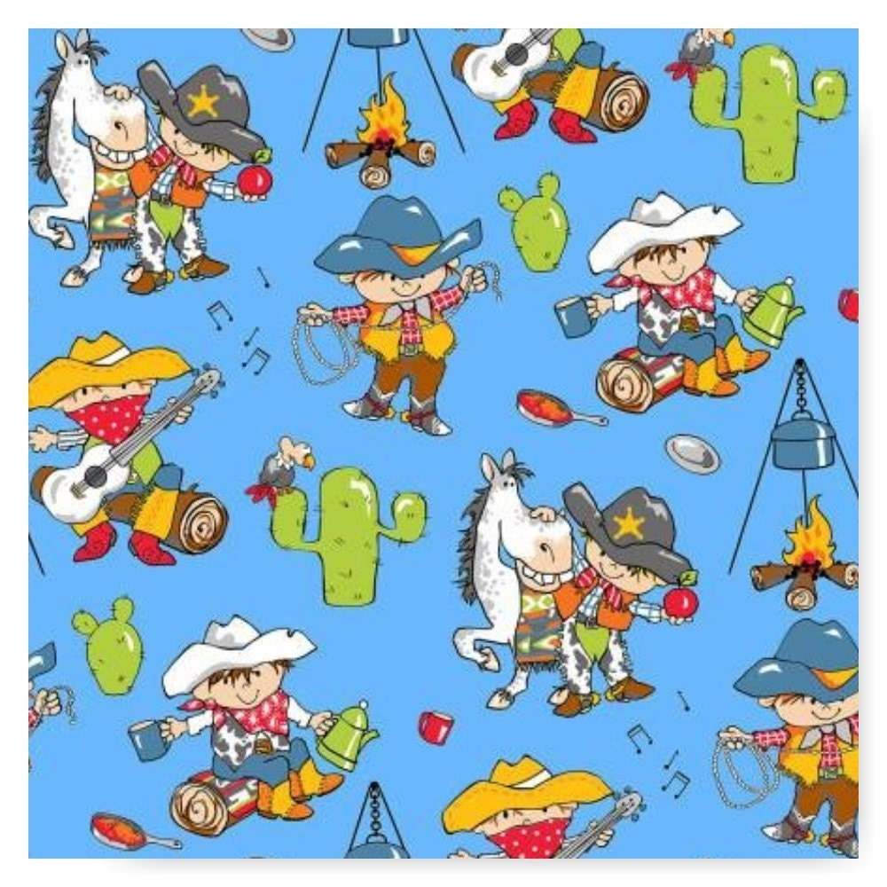 Little cowboys horse campfire on blue flannel fabric by for Kids horse fabric