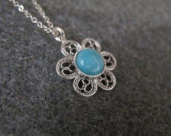 Amazonite necklace,Amazonite silver necklace,Silver Necklace, Israel jewelry, Blue necklace,Amazonite pendant