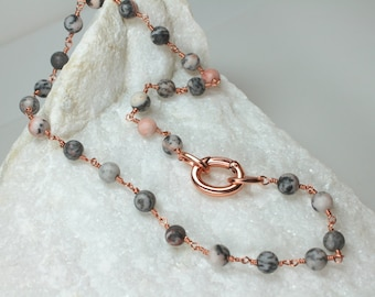 Jasper Gemstone Choker, Jasper Copper Necklace, Wire Wrapped Pink and Gray Jasper, Boho Chic Jewelry