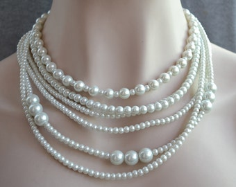 glass pearl necklace,multistrand pearl necklace,six strand ivory pearl necklace,bridal pearl necklace,wedding necklace,bridesmaid necklace