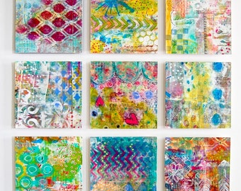 12.5 inches square Wall Art - 9 piece Art Installation - Mixed Media Art for Your Home