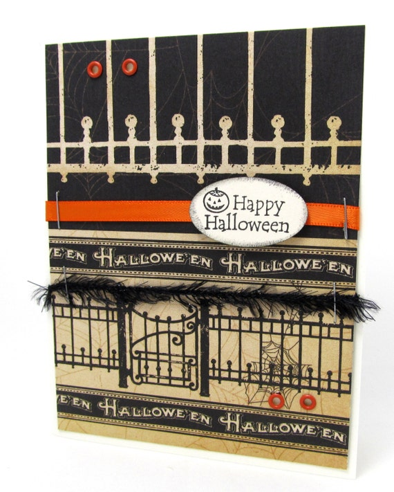 Happy Halloween Card - Halloween Card - Vintage Style - Haunted House - Jack O Lantern - Orange Ribbon - Blank Card - Gothic