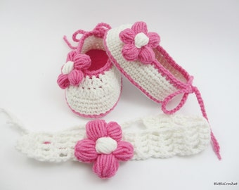Crochet Baby Girl Shoes, Summer Baby Flower Shoes, Pink Crochet Baby Booties, Newborn Crochet Shoes, Knitted Infant Girl Footwear, headband