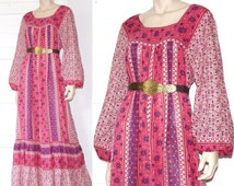 70s exquisite pink gauze indian maxi dress - small medium large or xl