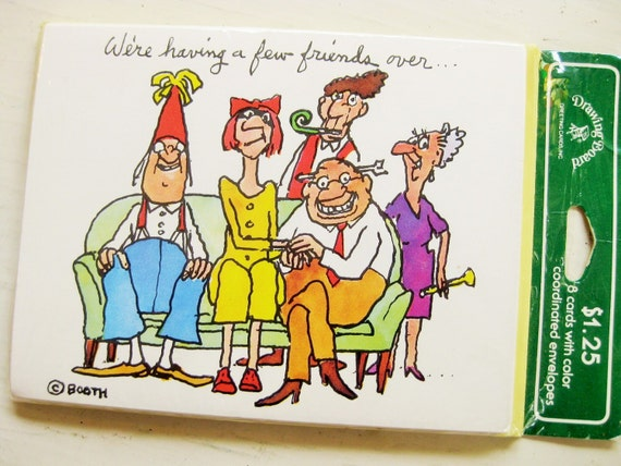 """Funny party invites. """"We're having a few friends over...."""" / """"and you would fit right in!"""" 8 cards with yellow envelopes"""