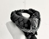 Braid Cotton Scarf Black - Set of Two Plait, Accessories for Women, Handmade and Hand Dyed.