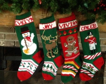 Hand Knit CHRISTMAS Stocking Snowman Moose Gingerbread Girl soldier
