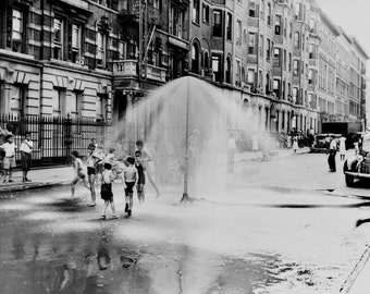 Children playing in fire hydrant water - Harlem 1930s New York City-  Old Photograph Print