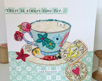 Cup of Tea-Greeting Card- handfinished