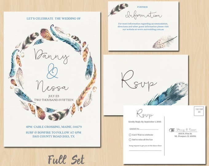 Bohemian Watercolour Feather Invitation Suite // Spring Wedding // Boho Wedding Invite // Printable Invitations