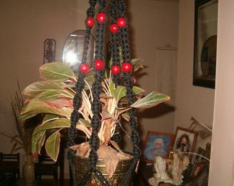 BLACK cord macrame with red beads