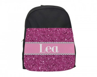Pink Glitter Personalized Girls Backpack and Lunchbox, Custom Girls Backpack, Personalized Glitter Bag, Personalized Girls Backpack