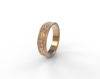 Wedding band , wedding band vintage , wedding band for her, Ring wedding woman, antique style