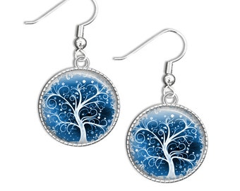 Tree earrings, Tree Drop Earrings - Blue Tree Glass Earrings - Blue Tree Jewelry (Tree 1)