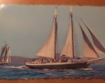 Vintage Original Windjammers Off The Maine Coast Schooners Mattie And Mercantile Postcard Free Shipping