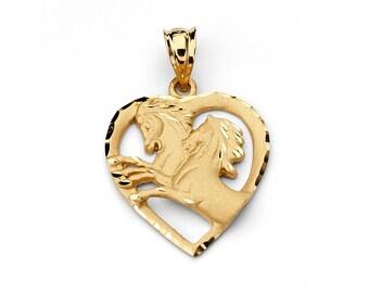 14K Yellow Gold Horse Pendant, Heart Horse pendant, Horse Jewelry, Gold Horse, Animal Jewelry, Double Horse Pendant, Gold Pendant, Horse