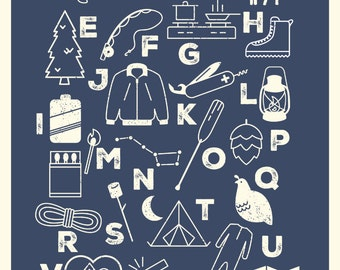 Camping Alphabet Poster