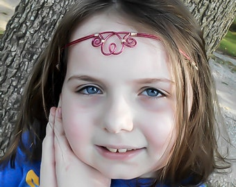 Heart Circlet, Elven Circlet, Red Circlet, Pink Circlet, Elven headpiece, Elvish crown, Medieval Tiara, Renaissance Circlet