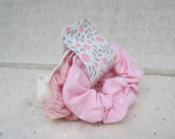 Set of Three Scrunchies Handmade Scrunchies Set of Three Hair Accessories