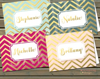 Gold Chevron Personalized Stationery - Gift for Her - Folded Note Cards with Envelopes