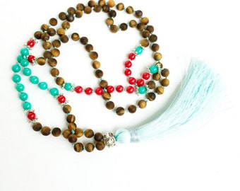 Tassel Necklace Boho Jewelry Turquoise Mala Bead Necklace, Long Bead Necklace Mala Necklace Mala Bead 108 Yoga Gifts for Her