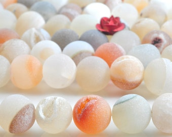 47 pcs of Rainbow Agate ,Matte round beads in 8 mm