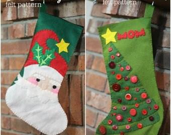 2 Felt Christmas Stocking Patterns // Santa and Christmas Tree