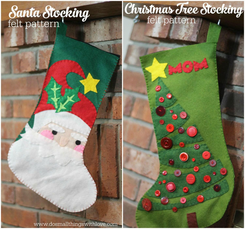 2 Felt Christmas Stocking Patterns Santa And Christmas Tree
