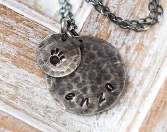 Doggy Necklace, Personalized Pet Jewelry, Paw Print Necklace Personalized, Dog Necklace, Personalized Animal Necklace, Pet Necklace