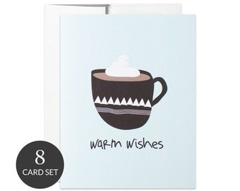 Set of 8 Holiday Cards   Christmas Cards   Warm Wishes   Hand Lettered & Illustrated Greeting Cards