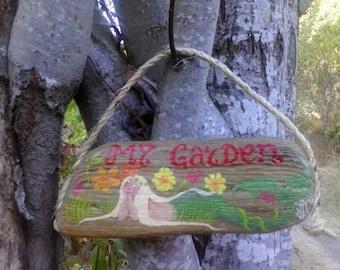 """Blonde mermaid """"My Garden"""" driftwood garden sign"""