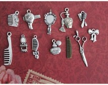 12 pcs Beauty and Hair Salon Collection Charms Antique Silver and Bronze Antique (CO112a)