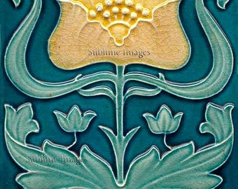 AN032 - Gloss Ceramic or Glass Tile - Vintage Art Nouveau Reproduction Tile - Various Sizes.