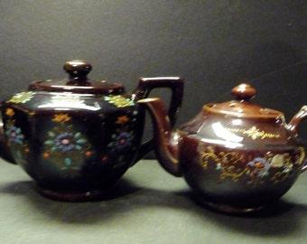 Two Moriage Brown Tea pots ~ Japan