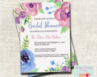 Water Color Floral  Bridal Shower Invitation