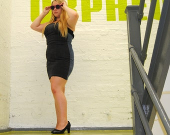 Body Con Stretch Denim Strapless mini dress with White zipper closure in back three tone denim panels