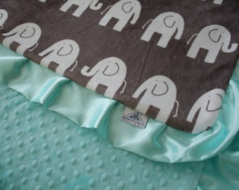 Dolce Vita Elephant with Saltwater Minky Dot and Coordinating Satin Ruffle Trim, Minky Baby Blanket - Boy or Girl, Crib Bedding