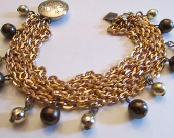 Vintage Multi-Chain Bracelet, Dangle Bead Bracelet, Gold Tone Brown Beads, Boho Bead Bracelet, Hipster Bracelet, Free US Shipping