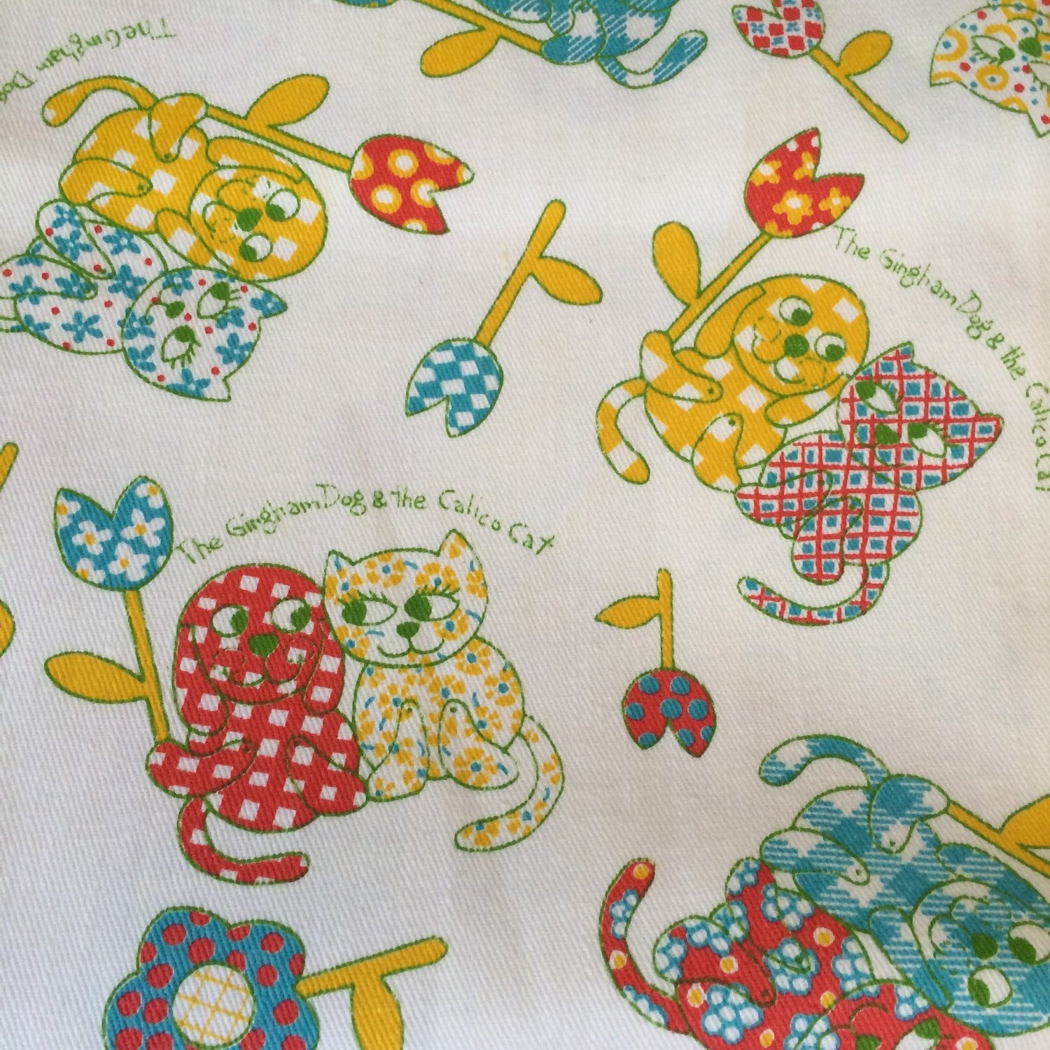 Gingham dog and calico cat children 39 s novelty fabric for Kids novelty fabric