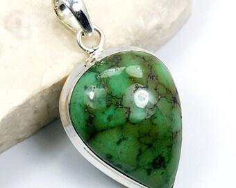 Green Tibetan Turquoise & .925 Sterling Silver Pendant , S717