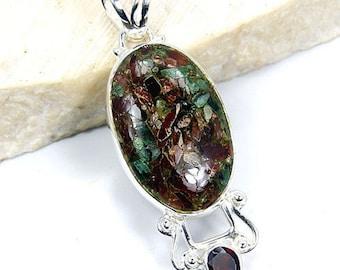 Tourmaline, Garnet & .925 Sterling Silver Pendant , R269