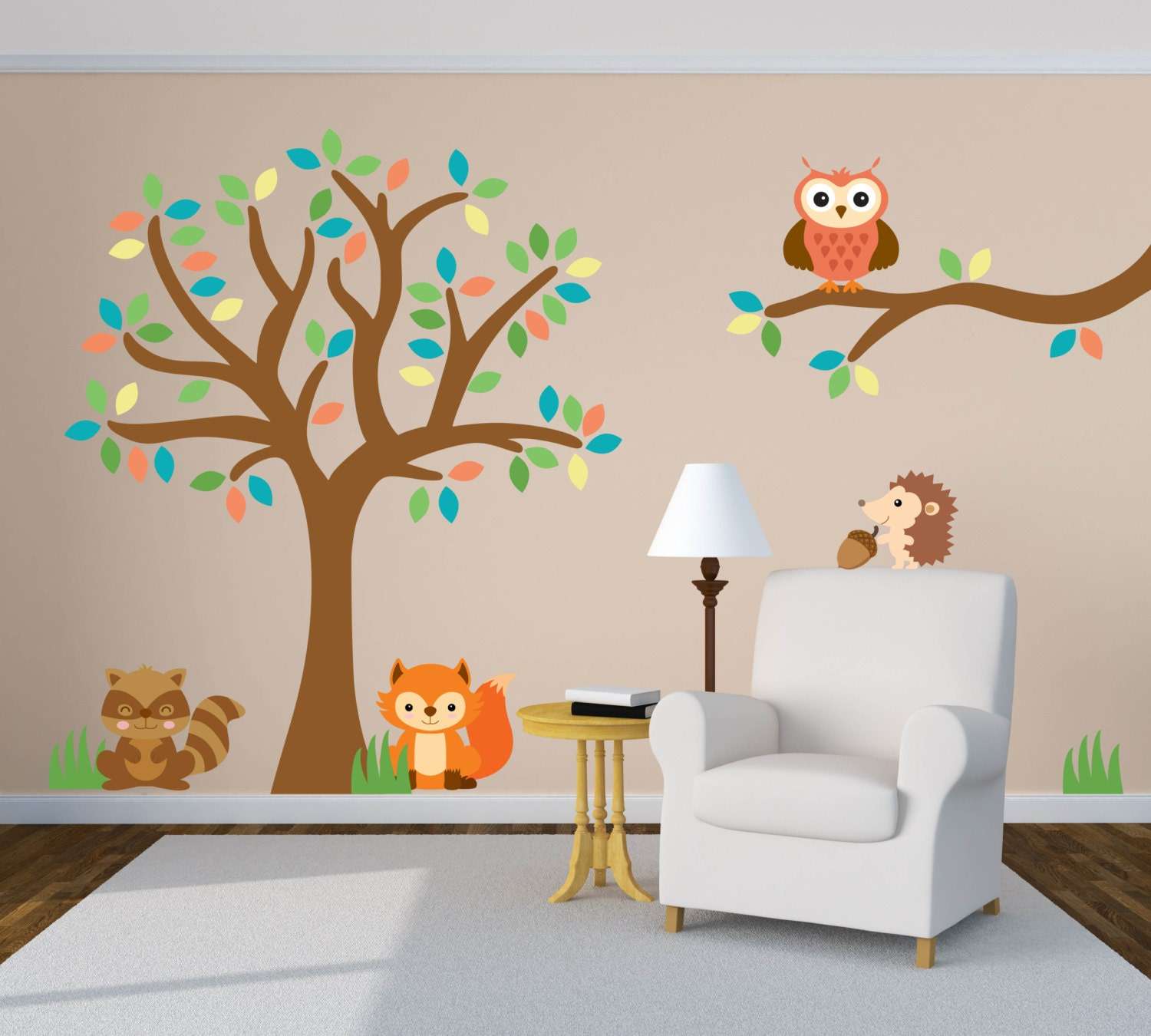 tree wall decal animal wall decal forest wall decal. Black Bedroom Furniture Sets. Home Design Ideas