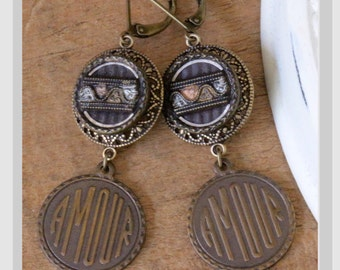 Antique Victorian/Art Nouveau Amour Tinies Button Earrings circa early 1900's by The Salvaged Bead