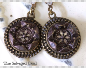 Antique Victorian Twinkle Button Earrings, circa 1880's The Salvaged Bead